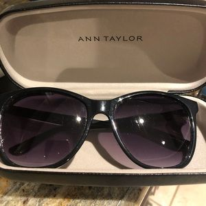 Ann Taylor black sunglasses in hard case